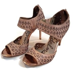 Sam Edelman Rose Gold Sandal Heel Zip Heels Shoes